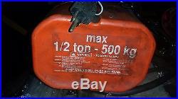 1,000 lb CM 1/2 Ton Electric chain hoist withPendant no trolley, 110Volt 1 phase