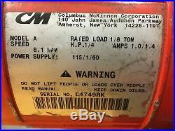 1/8 Ton CM Lodestar Electric Chain Hoist (1/4 H. P.)