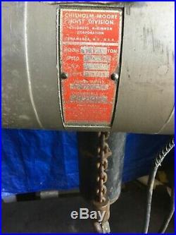 1 Ton CM Loadstar 240/480 Volt Electric Chain Hoist 16' Lift Columbus McKinnon