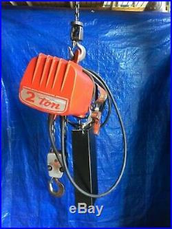 2 Ton Dayton 110 115 120 Volt Electric Chain Hoist 10' Lift single phase