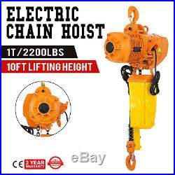 2200Lbs Electric Chain Hoist 10' Lift Height Lift Building 3 Phases 220V