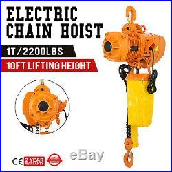 2200Lbs Electric Chain Hoist 10' Lift Height Lift Building Aluminium Alloy
