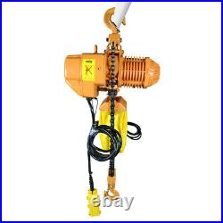 3 Phase 220V Chain Hoist 2200 lb. Electric Crane Hoist HD Super 1 Ton 10ft Lift