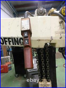 (#562) Coffing 3 Ton Electric Chain hoist 15' lift with push trolley 3 phase