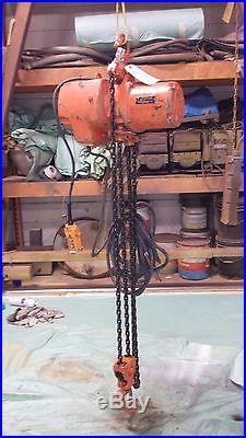 (#606) Kito 2 ton electric chain hoist 6' lift 3 phase