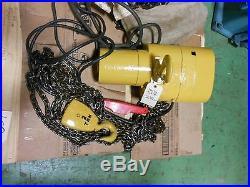 (#607) 2 ton electric chain hoist -16' lift-3 phase-hook suspension