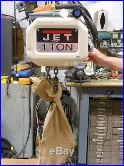 (#632)Jet 1 ton electric chain hoist 10' lift hook mount