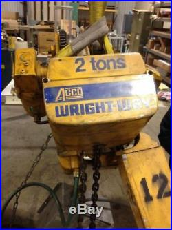 ACCO Wright-Way 2 Ton Electric chain hoist with powered trolley