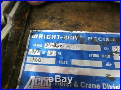 Agco Wright 1/2 Ton Electric Chain Hoist Overhead Crane Lift 1000LBS Wright-Way