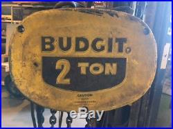 BUDGIT 2TON ELECTRIC CHAIN HOIST 230V 2 Ton TROLLEY