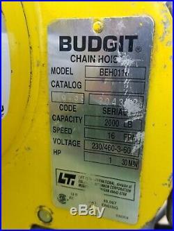 Budgit 1 Ton Electric Chain Hoist 230/460 Volts