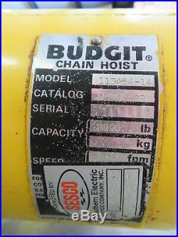 Budgit 113454-14 1 Ton Electric Chain Hoist Lift 115V 3PH Lifttech 1 HP 2000 lb
