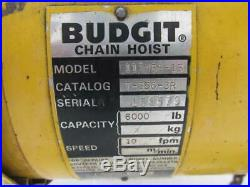 Budgit 113458-13 Electric Overhead Chain Hoist 10' Ft. Lift 3 PH 3 Ton 6000 Lbs