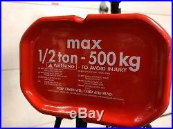 CM 1/2 Ton Capacity, 16 FPM Lift Speed, Electric Chain Hoist 2404 WF