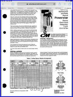 CM Chain Hoist 7.5 Ton Electric Series 670 Beam Trolly USA Factory Mill Mine
