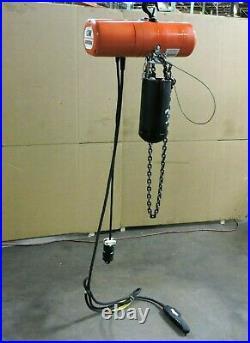 CM Columbus Mckinnon Electric Chain Hoist Model F 1000lbs 1/2 Ton 114 Drop