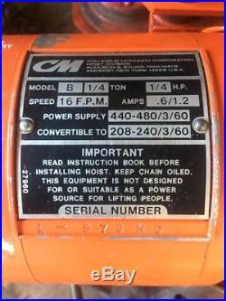 CM Electric Chain Hoist 1/4 Ton Model B