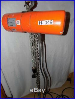CM LODESTAR 1/2 Ton 1000lb Electric Chain Hoist Model F 16 FPM 12' Lift 120V