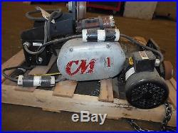 CM LODESTAR 1 TON ELECTRIC CHAIN HOIST with 635 MOTOR DRIVEN TROLLEY