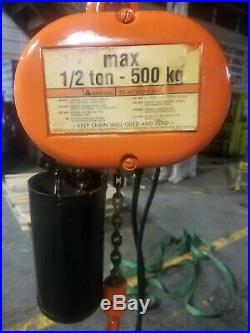 CM Loadstar 1/2 Ton Electric Chain Hoist 18ft Travel 110 volt