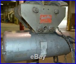 CM Loadstar Model L 1 Ton Electric Chain Hoist With Manual Loadstar Trolley