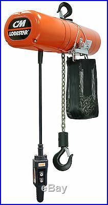 CM Lodestar 3565NH Electric Chain Hoist Model RR 2 Ton 10 ft 460v