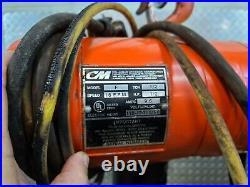 CM Lodestar Chain Hoist 1/2 Ton 10 ft Lift 6 ft pendant 16 FPM 115v