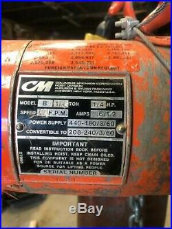 CM Lodestar Model B 1/4 Ton Electric Hoist 12' Lift 440 Volt 16 FPM Lifting Spee