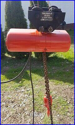 CM Lodestar Model H 1 Ton 2000LB Electric Chain Hoist 15' Lift 8FPM Tested