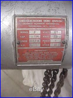 CM Lodestar Model H Electric Hoist 1 Ton 8' chain Lift with Pendant Control 115V