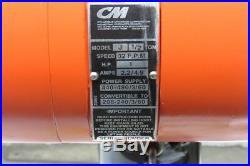 CM Lodestar Model J 1/2 Ton 1000lb 110V Electric Chain Hoist 20' Travel 32FPM