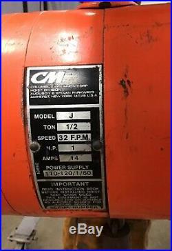 CM Lodestar Model J 1/2 Ton Electric 115VAC Chain Hoist