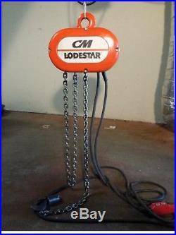 CM Lodestar Model J 1/2 Ton Electric Chain Hoist Lift 32FPM