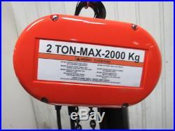 CM Lodestar Model R 2 Ton 4000lb Electric Chain Hoist 20' Lift 8FPM 110V 1 Phase