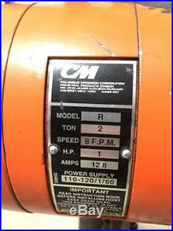 CM Lodestar Model R 2 Ton Electric Chain Hoist 20ft, 8FPM, 3PH, 1HP