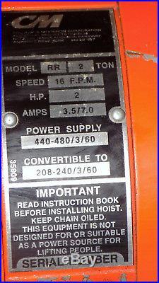 CM Lodestar RR 2 Ton 4000LB 2Hp Electric Chain Hoist 240/480V 3Ph 12' Lift 16FPM
