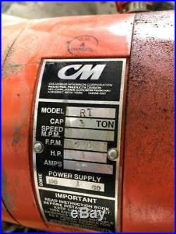 CM Lodestar RT 3 Ton Electric Chain Hoist 20ft 5.5FPM 1HP Single Phase