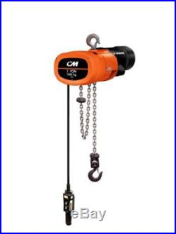 CM Man Guard 1-ton Single Phase Electric Chain Hoist, 10' Of Lift, Hook Mounted