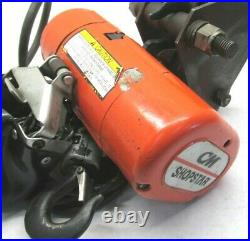 CM SHOPSTAR 300 LBS. ELECTRIC CHAIN HOIST with TROLLEY & PENDANT CONTROL