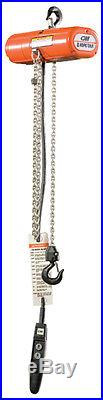 CM ShopStar 600lb Electric Chain Hoist 10' lift 2001 with Chain Container