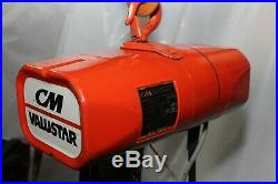 CM Valustar Electric Chain Hoist 1/2 TON 15 FT Lift Model WF withChain Container