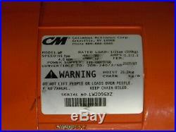 CM Valustar Electric Chain Hoist 1/2 Ton Capacity 10 Ft Lift 16 FPM 230/460v 3Ph