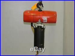 CM Valustar Model WB 1/4 Ton 500LB Electric Chain Hoist 1PH 120V 12' Lift Tested