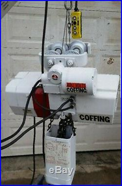 COFFING 3 TON ELECTRIC CHAIN HOIST WITH MOTORIZED TROLLEY 460 volts 2 speed