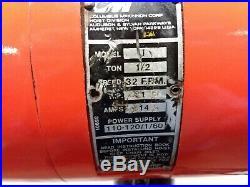 Cm Lodestar Model J 1/2 Ton 1000lb Electric Chain Hoist 120v 1Ph 18' Lift