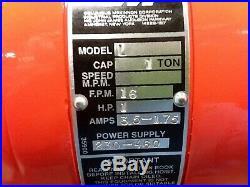 Cm Lodestar Model L 1 Ton 2000lb Electric Chain Hoist 3Ph 15' Lift