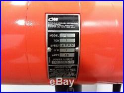 Cm Lodestar Model L 1 Ton Electric Chain Hoist 1Ph 120v 20' Lift 635 Trolley