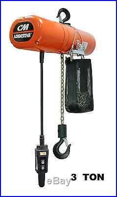 Cmco Lodestar Electric Chain Hoist 3 Ton Capacity, Single Speed 5 Fpm
