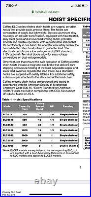 Coffing 1/2 Ton Electric Chain Hoist ELC1016 (1000 Lb. Capacity)