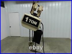 Coffing 1 Ton 2000Lb Electric Chain Hoist 3Ph 480V 12' Lift Travel Push Trolley